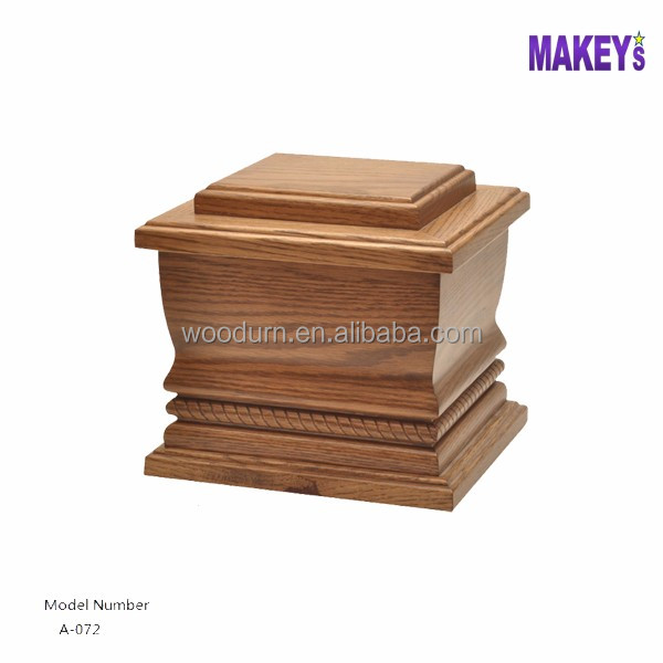 American Style Oak Stain Color Human Hand Carving Funeral Urns Casket Supplier