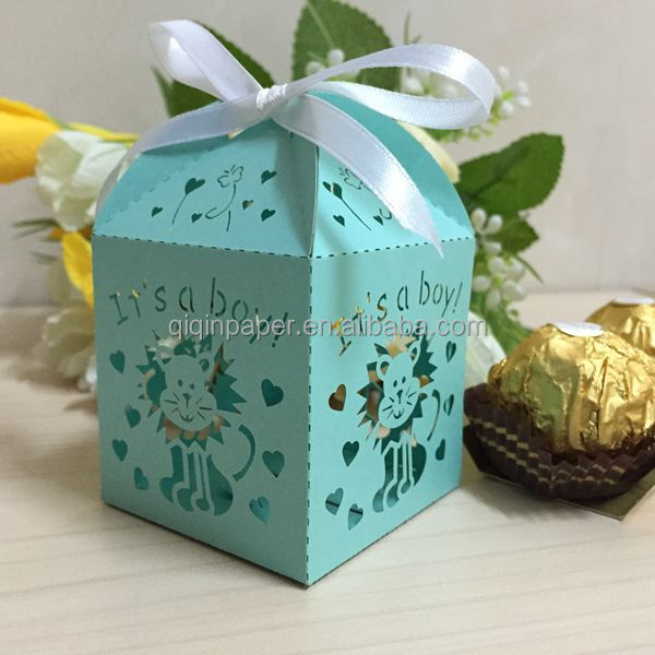 Laser cut birthday favor candy box gift box lion and sika deer decorative
