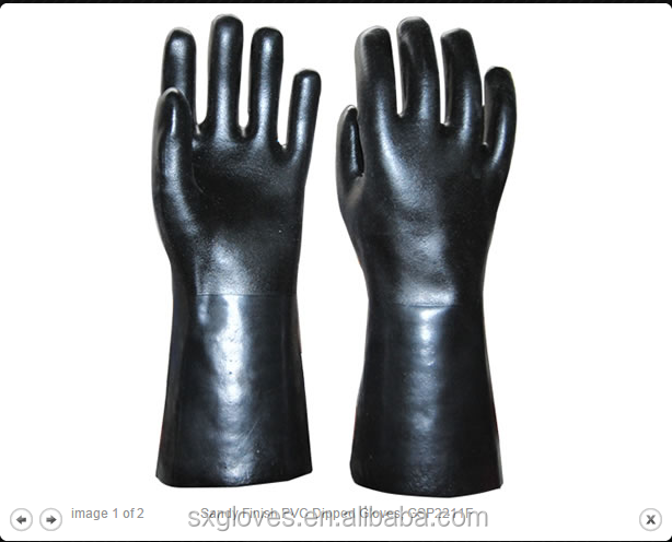 Black PVC glove with double dipped Gauntlet