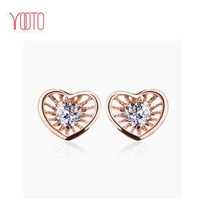 women rose gold heart shape stud zirconia earrings