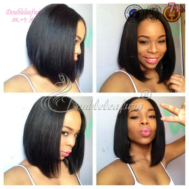 2015 DoubleleafV Unprocessed Human Brazilian Hair Short Bob middle <strong>U</strong> Part lace front Wig