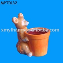 Cute animal handmade Small Clay Flower Pot