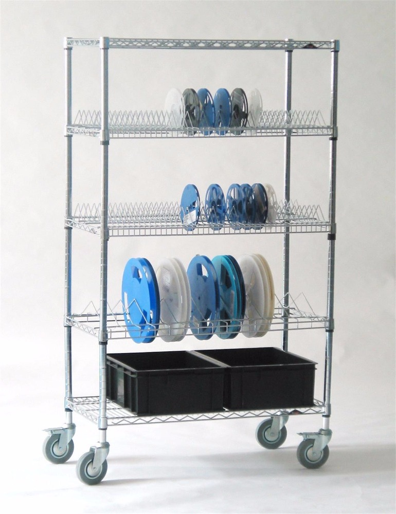 ESD PCB Component Reel Storage Rack /SMT Stainless Steel Cart for Electronic Factory