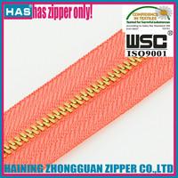 HAS gold teeth silver teeth brass/aluminium zippers long chain china zipper factory