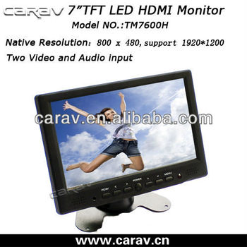 7inch 4-wire touch panel LED HDMI/VGA monitor 12v