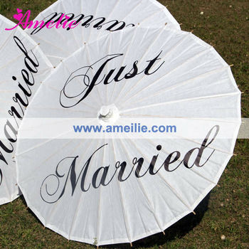 A03128 Custom Just Married Paper Umbrella Printing