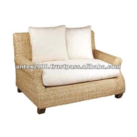 Sofa Bench in natural wicker for 2 seaters