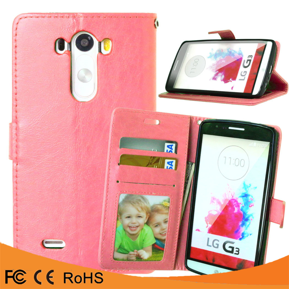 Static Color Card Holder Kickstand Crazy Horse Pattern Buckle PU Flip Leather mobile phone case for LG G3