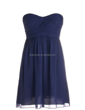 Simple design sweetheart short empire navy plus size chiffon ruched bridesmaid dresses