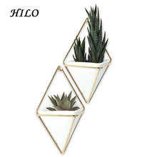 Home Decor Geometrica Fiore Bianco In <span class=keywords><strong>Ceramica</strong></span> Succulente Wall Hanging Planter