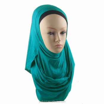 Collection design easy wear muslim Plain color jersey two faces instant shawl