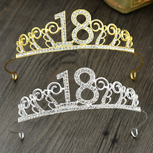 Princess Girl eighteen Years Old Zinc Alloy Birthday Rhinestone Hair Crown Tiaras