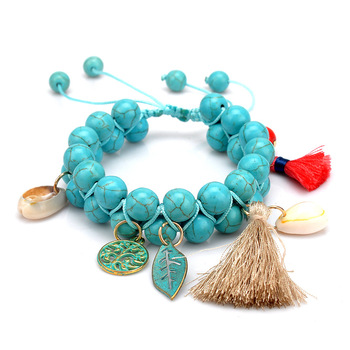Factory Selling Green Turquoise Gold Plated DIY Adjustable Woven Beaded Shell Double Row Natural Stone Tassel Boho Bracelets For