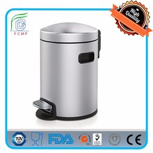 5 liter advertising stainless steel waste bin with plastic foot pedal and ear kitchen waste bin for household