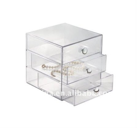 Clear Acrylic Jewelry Case / Box / Chest Display with 3 Drawer