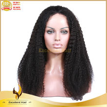 16inch density 120% indian remy hair stock short afro curl lace wig for black women