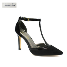 Latest new model good reputation deep green Office Ladies shallow mouth women high heel pump shoes