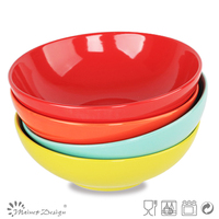 Moon shape salad bowl 9 inch red,yellow vegetable bowl,shaining orange food bowl