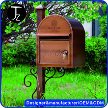 Manufacturer free standing stainless steel art deco Fence decorative outdoor brass mailbox