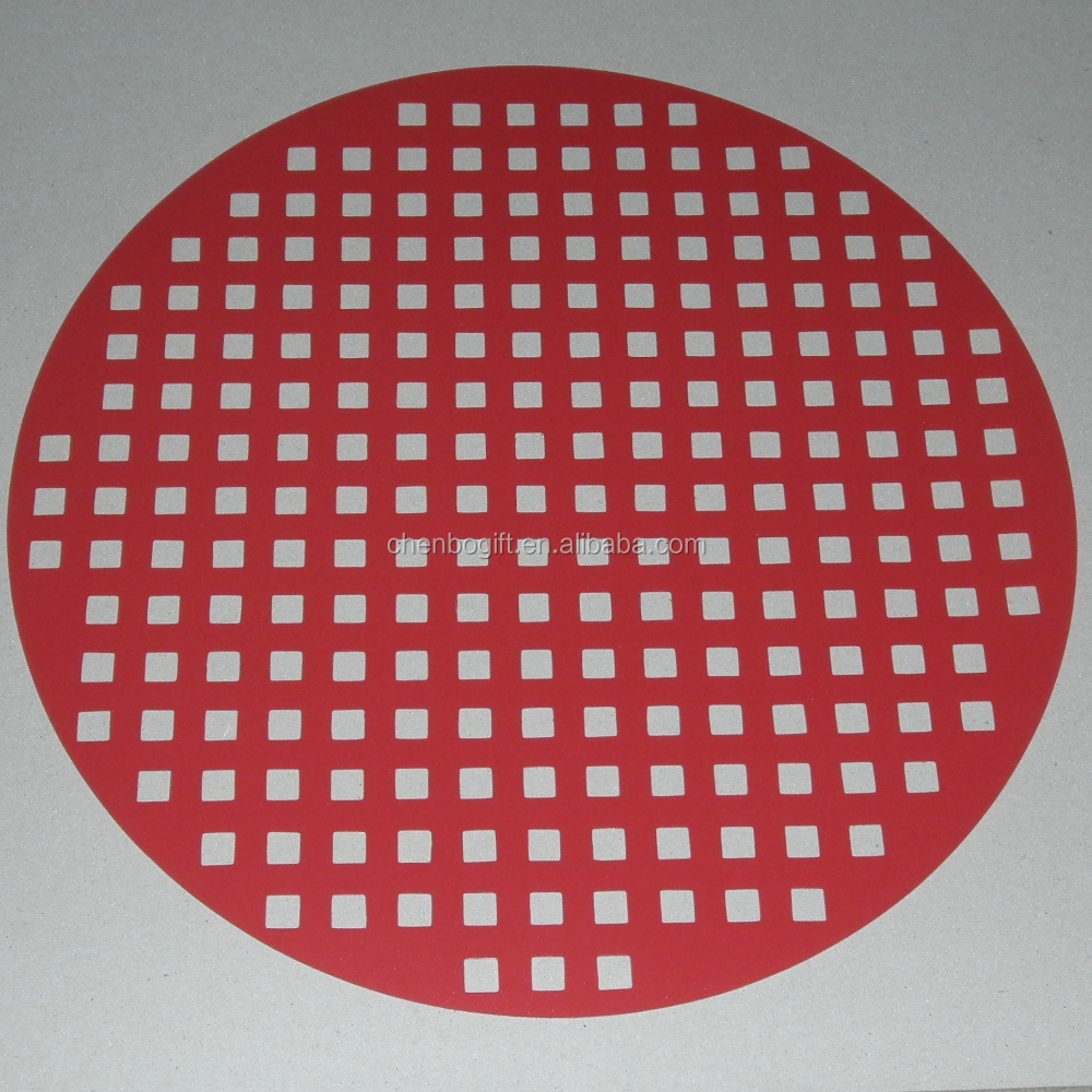 Die cutting Red color PP mat, round shaped pp placemat