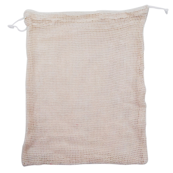 Eco-conscious Natural Recycled Reusable Drawstring Cotton Mesh Produce Bag Pouch