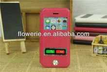 FL312 hot selling stand genuine dual window Sheepskin leather case for iphone 5c