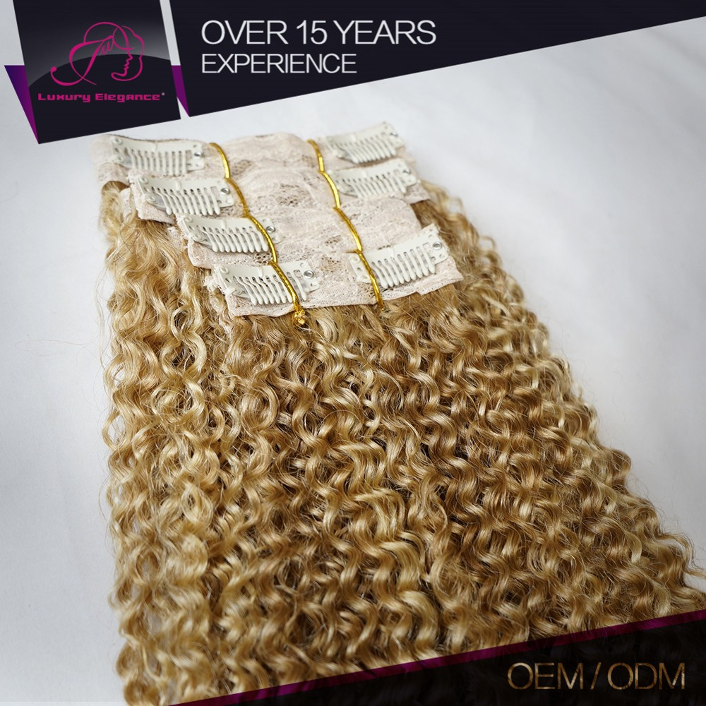 Customized Color #27/613 Kinky Curly Blonde Clip In Hair Extensions 90G 14Inch