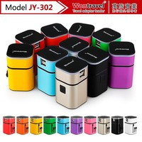 JY-302 Promotional gifts electronic gadget dual usb travel adapter global travel plug with luminous logo