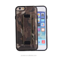 Camouflage Leather Soft Mobile Phone Case Card Holder Cell Phone Case for iPhone5s with Stand