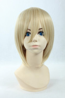 2015 Wholesale cheap heat resistant fiber cosplay short light blonde wig