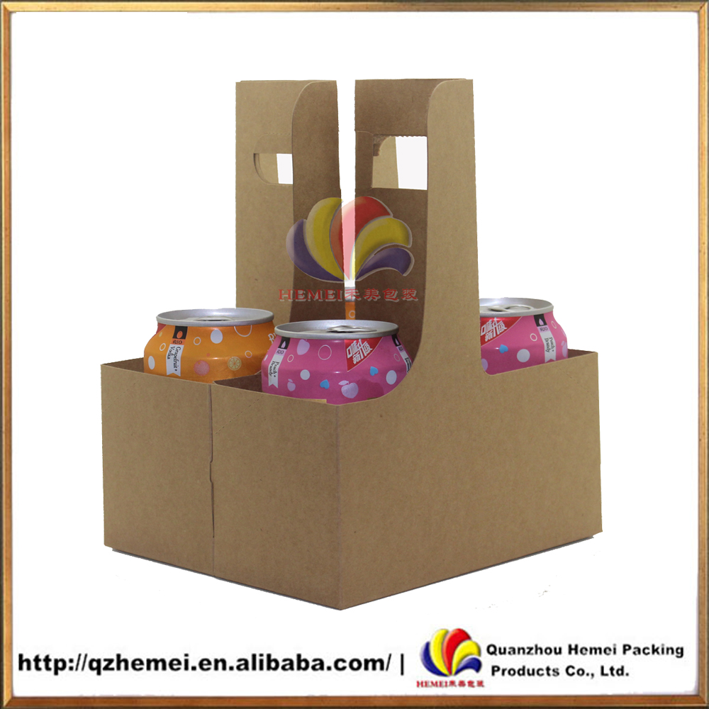 Hot sale Kraft paper Take-away wine and beer carrier