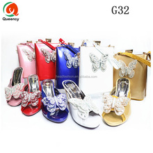 G32 Queency Popular Butterfly Design African Women Wedding Shoe and Bag Matching Set