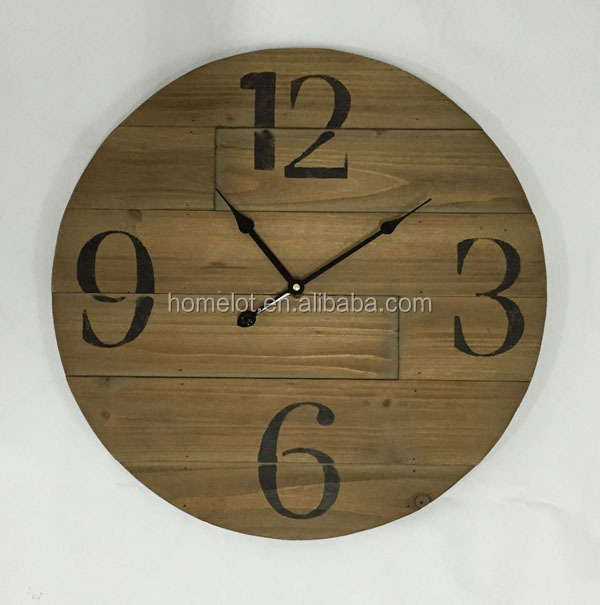 Popular Vintage Round Wall Clock Wood Clocks and Watches