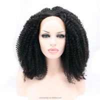 Black afro curly hair wigs for black women 100% synthetic curly wigs african american micro curly lace front wig wholesale