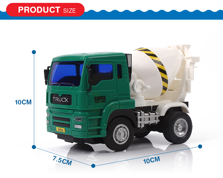 Wholesale friction powered plastic cement concrete mixer truck toy for kids gift