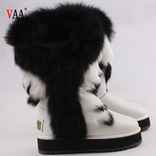 CF-228 Racoon Fur Genuine Leather Antiskid EVA And Rubber Sole Women Customize Snow Boots