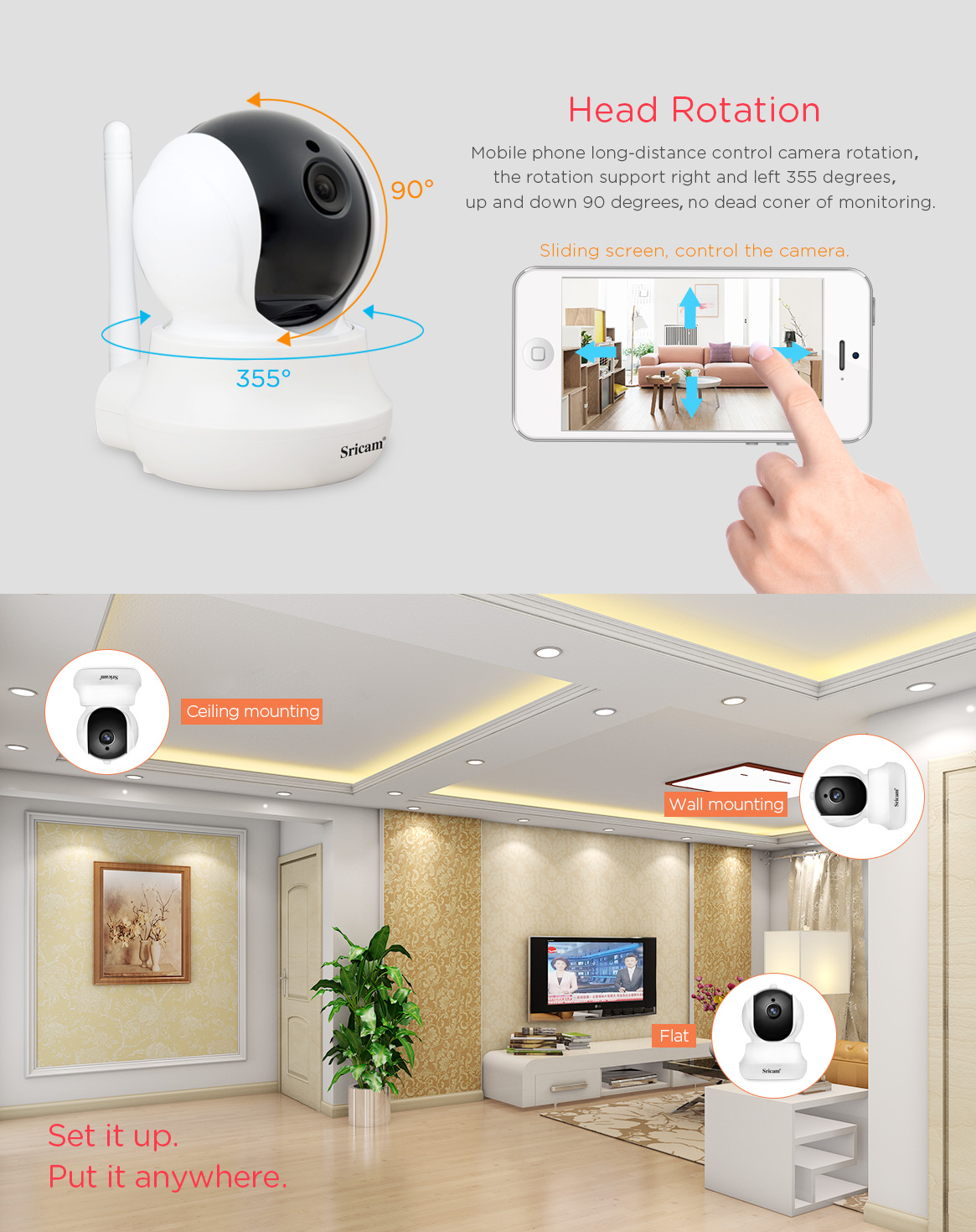 Sricam SP020 Network CCTV wireless IP camera mini wifi hd 720p home security camera