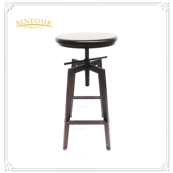 wood top and black metal iron frame high bar chair