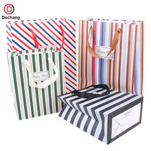 China Manufactures Fashion Promotional Full Color Printing Foldable Shopping Stripe Style Gift Beautiful Paper Hand Bag