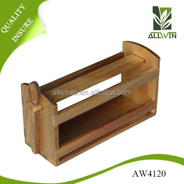 wall mounted wooden spice herb storage rack jar holder