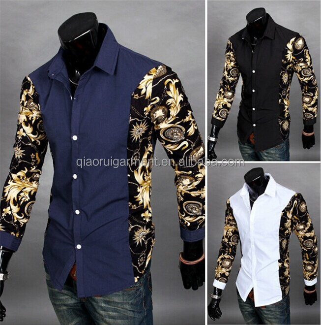New arrival Young man fashion floral patchwork design casual shirts QR-4824