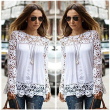 Instyles 5XL Women's Long Sleeve Lace Crochet Shirt Women Transparent Blouse SV009993 boutique clothing Clothing