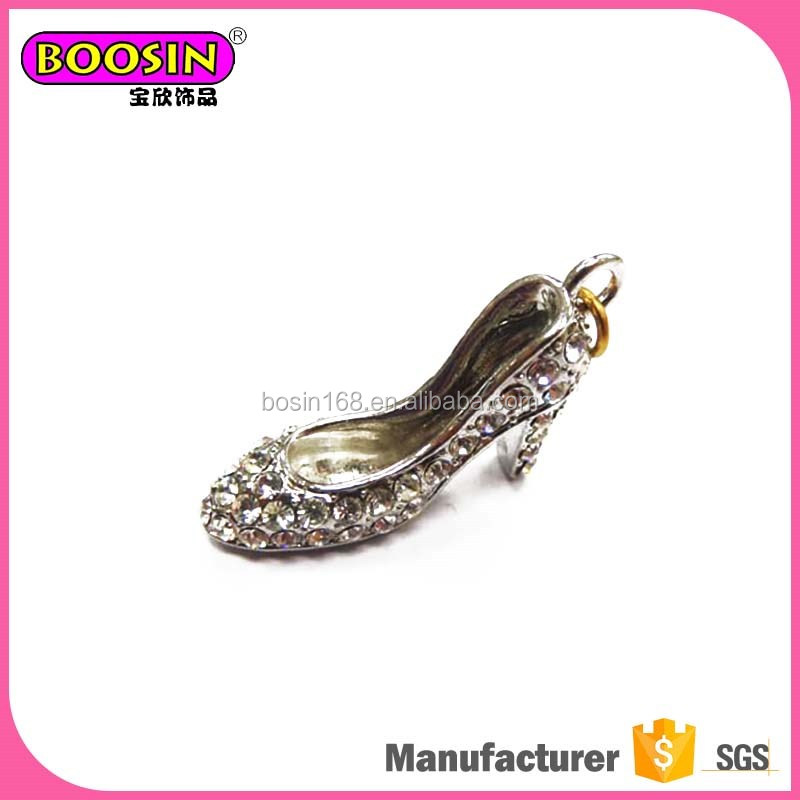 Best selling small custom crystal high heel shoe charms 3d