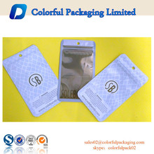 2016 Plastic cellphone accessories bag with euro hole/phone accessories zipper bag made in China