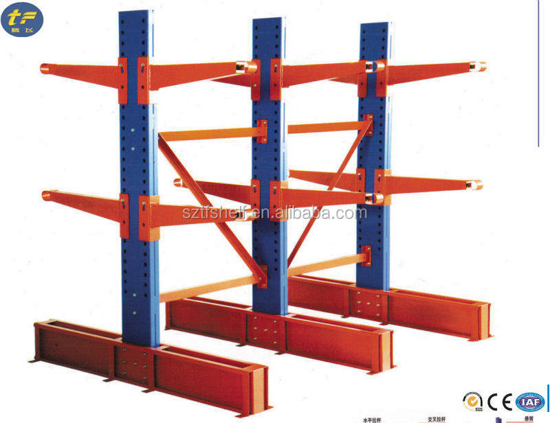 Cantilever rack with steel beams for car accessories and storage warehouse
