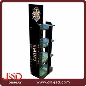 Low factory price supermarket floor display stand for wine bottles