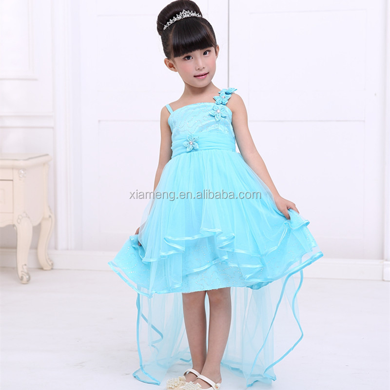 royal blue long tailing baby girl wedding dress
