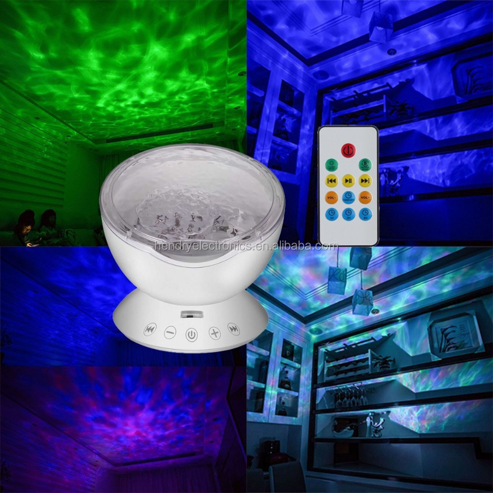 New Year Gift LED Nightlight Projector with Ocean Waves Sound