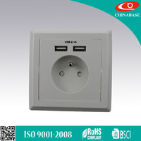 French Standard USB Wall Plate Mounted Socket