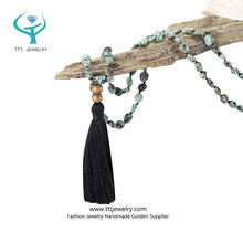 Mala 108 Meditation Beads Yoga Bracelets and Necklace of Wooden Beads Wrap Design with Long Tassel Design